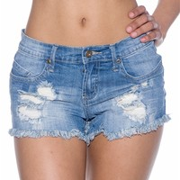 Distinctly Distressed Fringed Jean Shorts - Blue