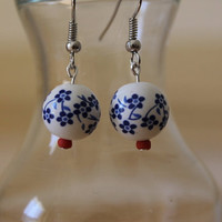 China Red Drop Hipster Earrings