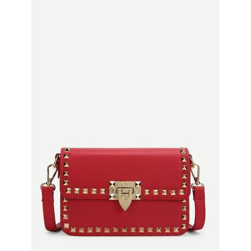 Red Rockstud Decorated Flap Pu Bag