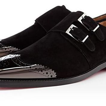 Wakeby Wolf Formal Black Double Monk Strap Wingtip Suede Leather Shoes