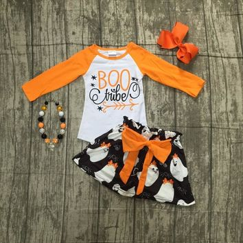Fall/winter baby girls Halloween BOO tube outifits ghost children clothes sets orange top with skirts arrow matching accessories