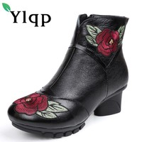 Ylqp 2018 Vintage Style Genuine Leather Women Boots Mid Heels Booties Soft Cowhide Women's Shoes Zip Ankle Boots Zapatos Mujer