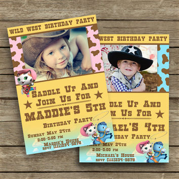 Disney Sheriff Callie's Wild West - Birthday Party Invitation with Photo - 2 different colors -High Quality - Customized -Party Printables