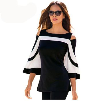 Women's Blouse, Black, White Bell Sleeve Cold Shoulder Top,  Office Ladies Clothes