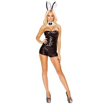 Sexy Playgirl Bunny Sequin Corset Romper Costume with Bunny Ears and Faux Fur Tail