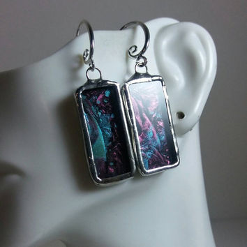 Stained Glass Jewelry, Rectangular Stained Glass Earrings, Unusual One Of A Kind Jewelry, Wearable Art, Turquoise & Purple Van Gogh Glass