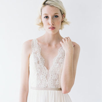 Nicolet // A Wedding Gown with Lace, Rose gold sequins, and Ruching