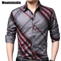 Mountainskin Casual Striped Men Shirts Slim Fit Male Social Shirts 4XL Brand Long Sleeve Business Shirt Men Clothes Spring JA171