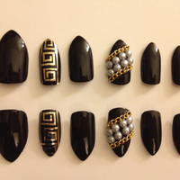Custom All-Black Designer Inspired Press-On Stiletto Nails