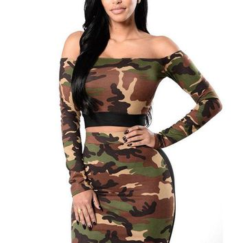ESBONEJ Camouflage Crop Top and Pencil Skirt Set