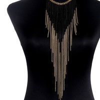 Fringle Gold Body Chain Tassels Necklaces&Pendants Layer Long Body Necklace New Fashion  Punk Style Elegant Statement Jewelry