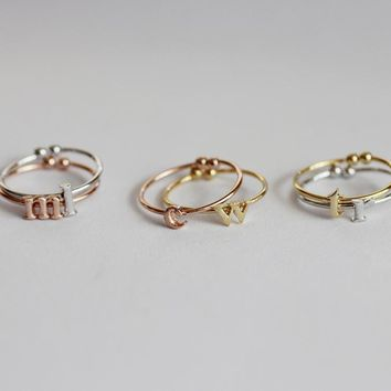 Initial Ring Adjustable / adjustable ring, lowercase alphabet ring, stackable initials ring / R0-90