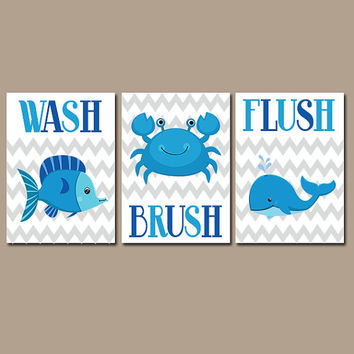 Nautical Bathroom Wall Art Boy Whale Fish Crab Wash Brush Flush Child Kid Boy Girl Sibling Sea Life Theme Set of 3 Trio Prints Bath Decor