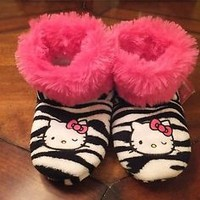 NWT Hello Kitty & Zebra Print Girls Boot Slippers Pink Faux Fur Sizes 11 12 13 1