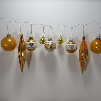 Gold Christmas Tree Ornaments Silver and Gold Glass Ornaments Vintage Shiny Brite Ornaments Icicle Ornaments Holiday Decor