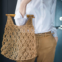 Vintage Macrame Summer Bag, Handmade knotted tote, wooden Handles Basket sustainable fashion, Beach bag 70s hippie festival handbag ethnic