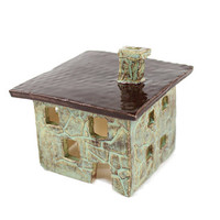 Ceramic House Candle Holder - Rustic Decor - Luminaria