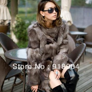 Princess silver fox fur coat women's long quality fox fur overcoat winter genuine fox fur jacket free shiping EMS F311
