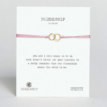 Dogeared Gold Plated Friendship Linked Ring Silk Adjustable Bracelet
