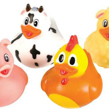"2"" farm animal rubber duck toy Case of 576"