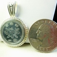 One Yen Japenese Coin Silver Pendant Image of Young Tree