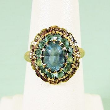10k Gold Blue Topaz Ring - Vintage Simulated Aqua Green Size 6.5