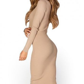 Sasha Taupe Ribbed Bodycon Long Sleeve Midi Sweater Dress
