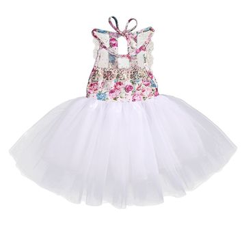 Summer 2017 Baby Kids Girl Tulle Tutu Floral Dress Party Wedding Bridesmaid Dresses Sundress