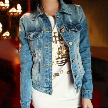 2015 coco channel Women's Blue Jeans Denim Jacket Newest Arrival Long Sleeve Fashion Coat Outerwear Korean Short Vintage Jackets
