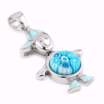 "Sterling Silver Glass Murano Millefiori Glass Pendant Boy With Dangling Blue Round Body (Free 18"" Chain)"