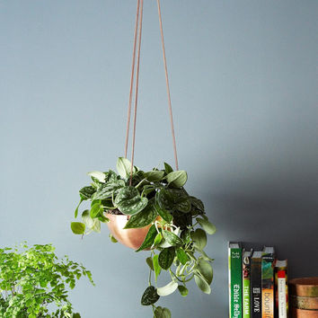 Large Hanging Planter/Basket with hand spun copper/ brass bowl & antique chain / Modern Planter / Plant Hanger / Minimalist Home Decor