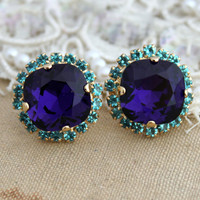 Blue and Purple Rhinestone Stud earrings -14kk plated gold post earrings real swarovski rhinestones.