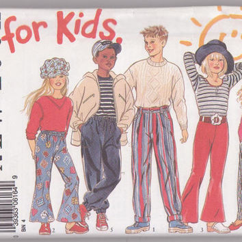 For Kids pants pattern with 4 variations: bell bottoms, jeans, pull on, elastic bottom child size 7 8 9 10 11 12 New Look 6164 UNCUT