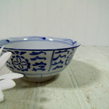 Vintage Asian Style Ceramic Soup Bowl - Traditional Hand Painted Cobalt Blue on White Porcelain Rice Bowl for Use or Decor - Made in China
