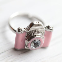 Pink Camera Ring . Enameled . Adjustable . Adorable