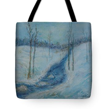 Winter Blue Woods Tote Bag