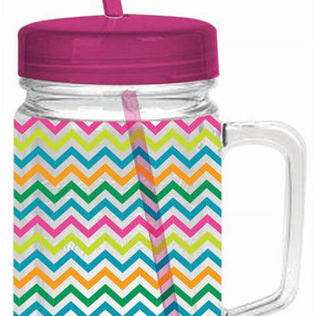 Custom Cabana Zig Zag-22 Oz. Double Wall Acrylic Mason Jar With Pink Lid And Straw