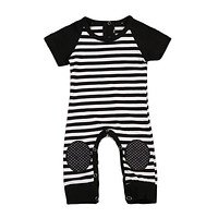 2017 Babies Boy Stripes Knee-Protective Rompers Newborn Infant Baby Boy Girl Romper Playsuit Outfits Striped Clothes Clothing