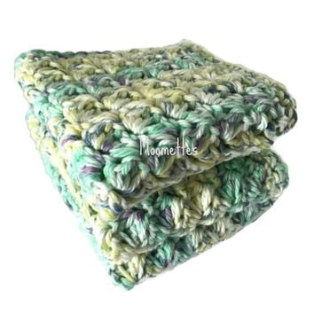 Handmade Dish Cloths Set of 3 Green Yellow Purple Pastel Wash Cloths Crochet Kitchen Dishcloths Eco Friendly Cotton