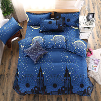 New style Bedding Sets Blue feather plus Cotton quilt/Duvet Cover Bed Sheet pillowcase 3/4 pcs Home bedding Queen Full Twin Size