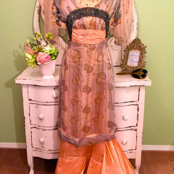 1910s Edwardian Bridal Dress, Tissue Silk, Metallic Lace, Beaded Bobbles, Antique Dress, Exquisite Rose Ribbon Lace, Peach Sequin Dress, XS