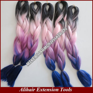 10Packs Free Shipping Black+Pink+Purple+Dark Blue100G 24inch Ombre Colored  Kanekalon Jumbo Box Braiding Synthetic Hair