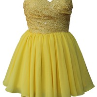 Staychicfashion Short Strapless Pleated Sequined Top Prom Dress 2015 Yellow