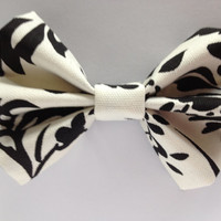 Black and White Flower Hair Bow
