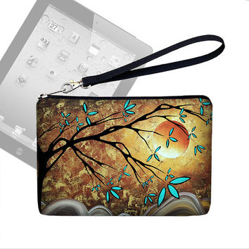 SALE Unique iPad Mini Case Cover, iPad Mini Strap Wristlet, Padded Zipper Pouch - MadArt Apricot  Moon blue gold (RTS)