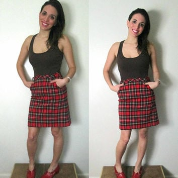 Vintage Plaid Mini Skirt /  Designer Roberta Di Camerino Red Tartan