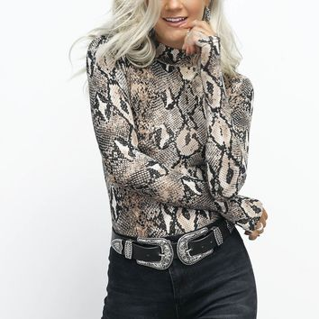 The Money Snakeskin Mock Neck Bodysuit