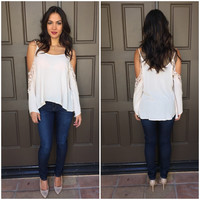Tropics Off Shoulder Blouse - CREAM