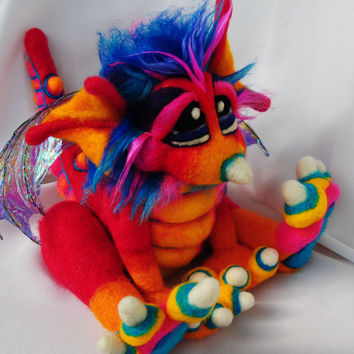 OOAK Pinkberry Needle Felted Dragon Fantasy Soft Sculpture Plush Wool Art Doll RESERVED