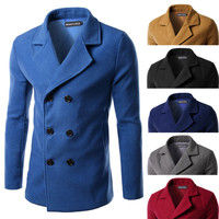 Double Breasted Men's Fashion Wool Coat